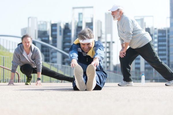 Group of seniors making sport in the morning