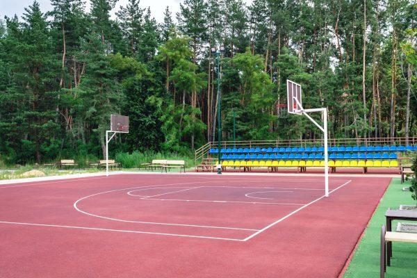 Public basketball court outdoor.