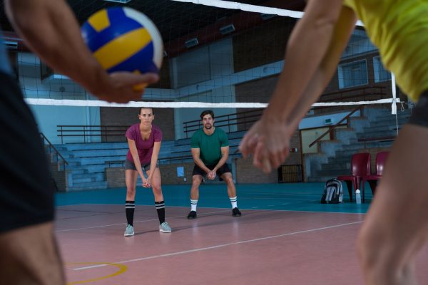 Volleyball players practicing